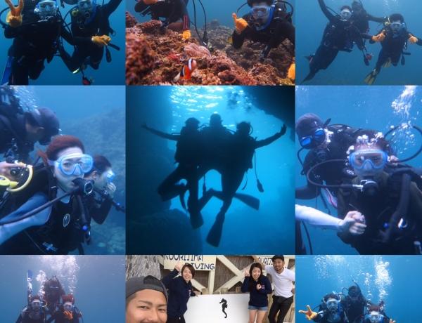 南風で古宇利島と青の洞窟で体験ダイビング〜