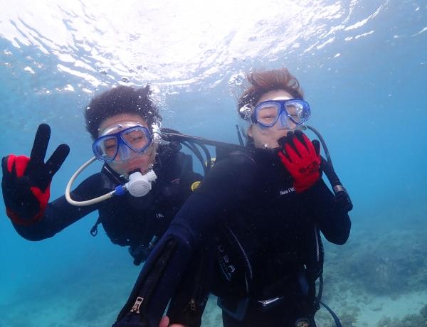 3/25 沖縄北部 体験ダイビング 水中でも笑っちゃう♡