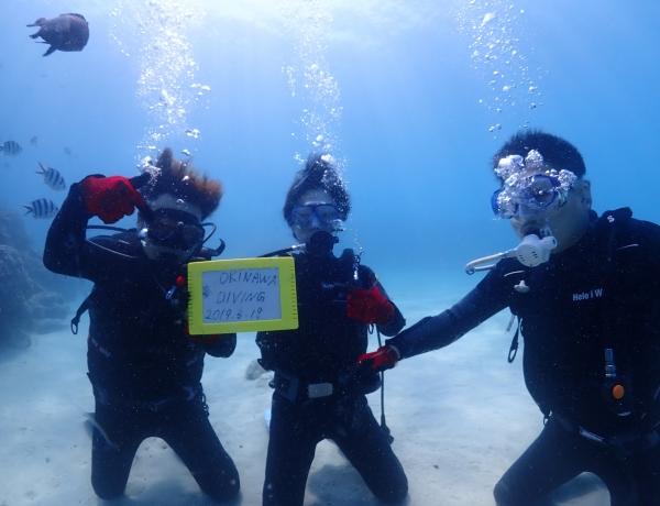 5/18 沖縄北部 体験ダイビング  梅雨入りしましたが、海は綺麗!